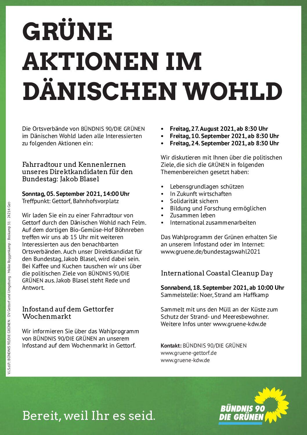 Grüne Aktionen zur Bundestagswahl 2021